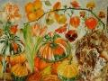 Oranje bloemen en kalebassen