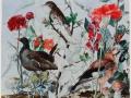 Rode bloemen en vogels
